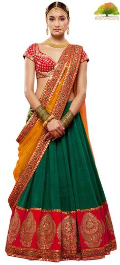 This wedding lehenga is made of Green color raw silk having zari work red color border on hemline. Choli of this wedding lehenga is in silk fabric having zari embroidery on it. Dupatta of this wedding Indian Bridal Wear, Indian Wedding Outfits, Indian Outfits, Bride Indian, Lehenga Designs, Indian Look, Indian Ethnic Wear, Bridal Lehenga, Lehenga Choli