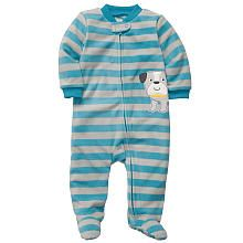 Carter's Boys Stripe Bull Dog Microfleece Embroidered Sleep N' Play