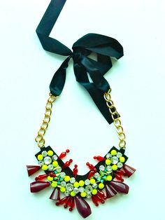 Red and Yellow Resin and Ribbon Statement Necklace