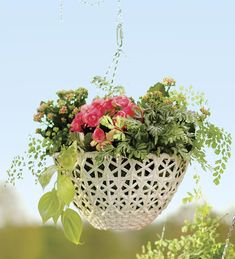 The elegant versatility of wicker is now available for your hanging plants. Our Open Weave Resin Wicker Hanging Basket will enhance any floral display. Just set a pot inside or line them with our optional coco liners. Antique white resin wicker is weather and moisture resistant. Chains attach easily with clips. Hanging Flower Baskets, Hanging Plants, Indoor Plants, Potato Vines, Basket Liners, Open Weave, Container Plants, Plant Decor, Basket Weaving