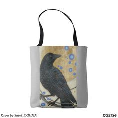 Lovely crow and gold full moon Tote Bag by Satoi Oguma.