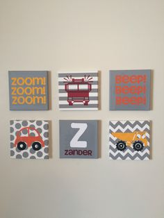 Little boys room wall art. Trucks and cars. Grey, red, and yellow. Made with vinyl