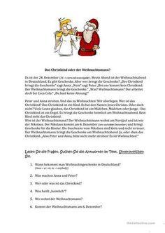 Weihnachten in Deutschland - Text | tedesco | Pinterest | Schreiben ...