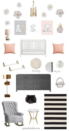 gray pink and gold girl nursery