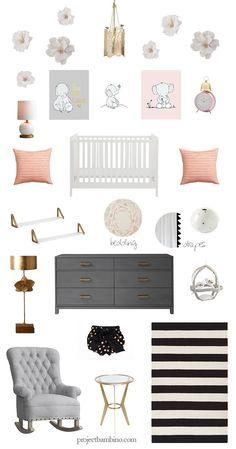gold pink girl nursery design, contest enter to win! : http://projectbambino.com/2015/05/gold-pink-girl-nursery-design/