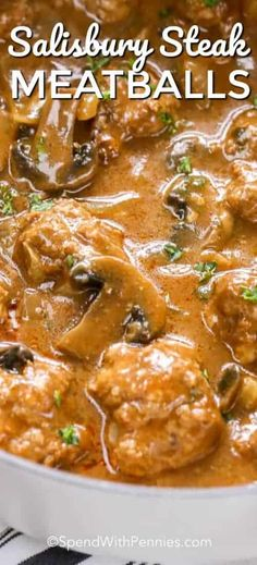 Salisbury steak meatballs are one of our favorite dinners! The salisbury steak gravy is comes out so flavorful every time! Salisbury steak meatballs are one of our favorite dinners! The salisbury steak gravy is comes out so flavorful every time! Salisbury Steak Gravy, Homemade Salisbury Steak, Salisbury Steak Meatballs, Meatball Recipes, Meat Recipes, Gourmet Recipes, Cooking Recipes, Cooking Tips, Seafood Recipes