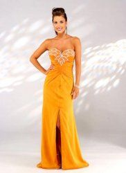 Bold orange sweetheart satin evening dress by thebestgown.com