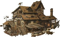 Discover recipes, home ideas, style inspiration and other ideas to try. Fantasy Town, Fantasy House, Fantasy Rpg, Medieval Fantasy, Fantasy Artwork, Building Concept, Building Art, Medieval Houses, Fantasy Places