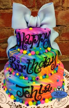 Rainbow Explosion Birthday Cake Kids Birthday Party Ideas And - Neon birthday party cakes