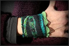 Black and Turquoise felted wrist Cuff with silk by ZamirteTextiles