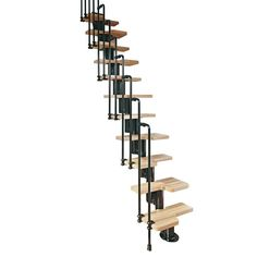 Arke Karina Black Modular Staircase Kit at The Home Depot - Mobile Modular Staircase, Spiral Staircase Kits, Small Staircase, Design Of Staircase, Staircase Decoration, Stair Design, Spiral Staircases, Space Saving Staircase, Stair Kits