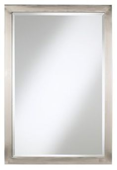 22 x 33 Possini Euro Brushed Nickel Metal Modern Rectangular Mirror