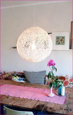 1 String, glue, round, balloon, ball, whirl it custom lampshade, diy