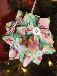 Small Kusudama Flower Ball Ornament Green w/Flowers by FoldsOfLove, $15.00