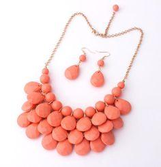 Bohemian Necklaces Chokers Chunky Tassels Statement Bib Earrings Peach Hot deal