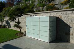 Moderne Pools, Outdoor Furniture, Outdoor Decor, Outdoor Storage, Garage Doors, Home, Palmas, Storage, Rockery Garden