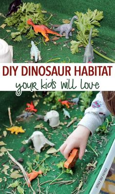 Make a DIY dinosaur habitat in a box! This super fun dinosaur activity for kids is easy to put together and provides hours of fun - and it uses natural materials so it's inexpensive too. The perfect place to play and store your toy dinosaurs - makes a great gift too!