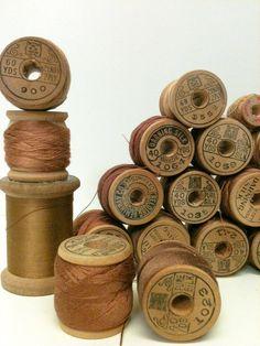 Vintage Silk Thread,Wood Spool,Sewing, by beachbabyblues on Etsy, $67.00
