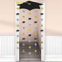 Graduation Decorations 60834 Amscan Make a memorable entrance when you walk through this Graduation Cap Doorway Curtain. Mount the lightweight cardboard graduation cap to the top of the doorway and let the strings with foil cutouts rain down. Graduation Crafts, Graduation Party Planning, Outdoor Graduation Parties, College Graduation Parties, Graduation Banner, Graduation Party Supplies, Graduation Celebration, Graduation Ideas, Kindergarten Graduation