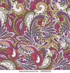 Colored seamless background. Paisley pattern