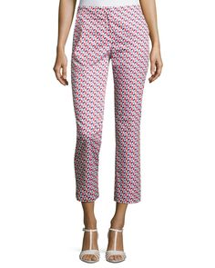 Armani Collezioni Mosaic-Print Slim-Fit Cropped Pants, Multicolor and Matching Items