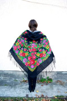 Vintage Ukrainian shawl, Russian shawl, black Wool shawl, Tablecloth, Floral Shawl ,Shawl With Tassels, floral scarf, Babushka Russianbla