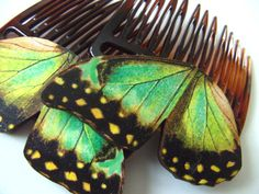 Two GREEN with yellow and black Butterfly wings by NewellsJewels, £9.00