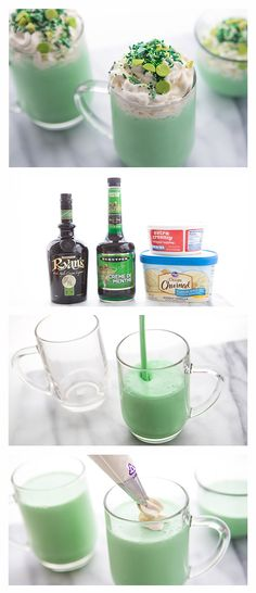 Boozy Shamrock Shakes. Bright green and minty, these crème de menthe and Irish cream-spiked milkshakes may be better than the original!