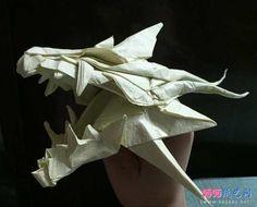 qqpika实拍手工折纸巨龙头骨的方法教程完成效果图