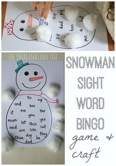 Snowman Sight Word Bingo (from The Imagination Tree)
