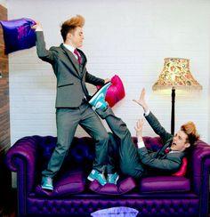 Purple sofa? Bet the carpet is purple too. ;) #Jedward