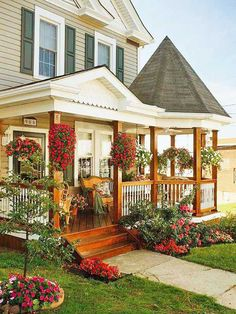 OMG this is my dream porch. Love those round gazebos.