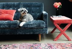 The Maud rectangular footstool in Dusty Rose cotton matt velvet, £275