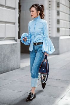 blue statement sleeve shirt, straight jeans, black belt, black loafers, black handbag - Spring outfit, casual outfit, comfy outfit, tomboy outfit, minimal outfit, statement sleeves outfit, spring trends 2017, fashion trends 2017
