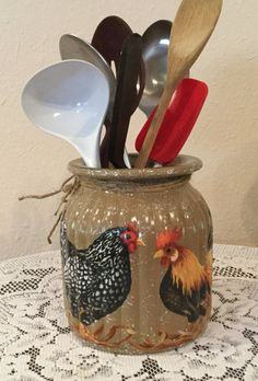 rooster kitchen decor designer sinks 209 best and sunflower images hens utensil holder country by craftsbyjoyice mason jar