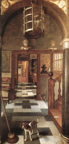 A view through a house by Samuel van Hoogstraten, at Dyrham Park. William Blathwayt liked to keep exotic and song birds, like the one shown in this painting. ©National Trust, image supplied by the Public Catalogue Foundation Tableaux Vivants, Caravaggio, Dutch House, Dutch Golden Age, Baroque Art, National Trust, Dutch Painters, Dutch Artists, Art Uk