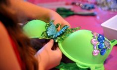 """How cool are these fancy Bras!!!  Susan Mattes Bostian holds a """"Bling Your Bra"""" night every year at her house to make these fancy bras to auction off to raise money for the Making Strides Against Breast Cancer Lehigh Valley Walk!  Although the Blinging of the Bras night is over the walk still continues on Oct 25th at10 am in Downtown Bethlehem (Main and Leigh Streets)"""