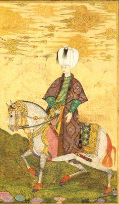 Osman II. (reg. 1618-1622) 14 Jahre alt war Osman II., als er den Thron bestieg. Totz seines jungen Alters und zweifelhaften Charakters war er ein erfolgreicher Staatsmann. Die Miniatur zeigt den jugendlichen Sultan in reichem Ornat, auf einem prächtig aufgezäumten Pferd reitend.