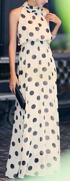 Polka Dot Chiffon Maxi Dress Would love it with some accent color - yellow?!