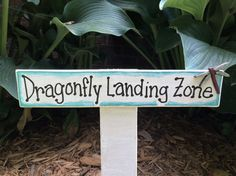 Fairy Garden Sign Dragonfly Landing Zone by GolitelyFab on Etsy Barn Wood Signs, Garden Signs, Landing, Fairy, Cool Stuff, Outdoor Decor, Etsy