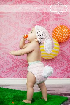 Bunny hat and diaper cover costume by jamieinthesky