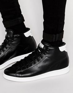 Super cool adidas Originals Stan Smith Mid Trainers S75027 - Black adidas  Originals Løbesko til Herrer 93fa97e57b5