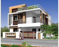 MODERN duplex house - by rakesh shastri Bungalow Haus Design, Duplex House Design, House Front Design, Small House Design, Modern House Design, Independent House, Front Elevation Designs, House Elevation, Villa Design