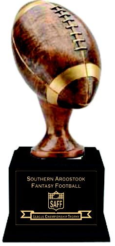 """17"""" Tall Fantasy Football Trophy with 18 Year Plates. Antiqued Bronze Resin Economy Fantasy Football Trophy.  www.rcbawards.com."""