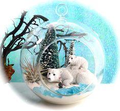 Winter Polar Bear Terrarium Kit Snow White Sand Frosted