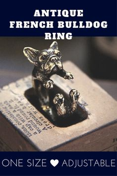 Retro jewelry Handmade French Bulldog Ring Animal Warp Ring Free Size Fashion rings for men women woodland Statement Cute Dogs And Puppies, Little Puppies, Baby Dogs, Cutest Dogs, Adorable Dogs, Presents For Dog Lovers, Gifts For Dog Owners, Dog Lover Gifts, Antique Rings