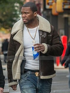 Power 50 Cent Brown Leather Jacket
