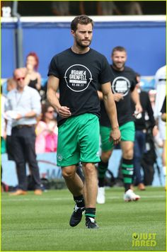 Jamie Dornan & Ed Westwick Play in London Charity Soccer Match: Photo Jamie Dornan hits the field to take part in the soccer game on Saturday afternoon (September Loftus Road Stadium in London, England. Hugo Boss, Hot Country Men, Calvin Klein, Rugby Men, Dior, Jaime Dornan, Mr Grey, Soccer Match, Fifty Shades Of Grey