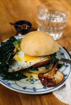 Marinated Mushroom Sandwich with Sautéed Greens + Avocado + Egg // earthy feast