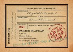 Send your guests a ticket to your wedding! This vintage design is perfect for a destination wedding, or one with a travel theme.